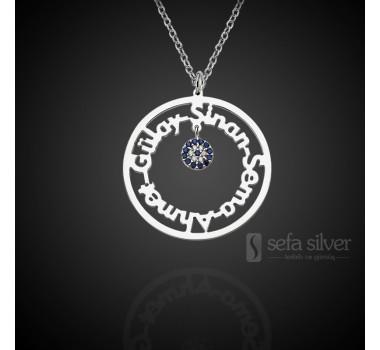Kişiye Özel Dört İsimli Gümüş Kolye