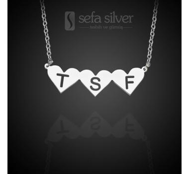 Kişiye Özel Üç Kalpli ve Harfli Gümüş Kolye