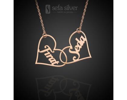 İki Kalpli ve İsimli Gümüş Kolye