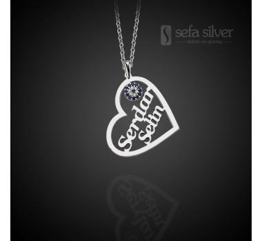 Kişiye Özel İsimli Gümüş Kalp Kolye