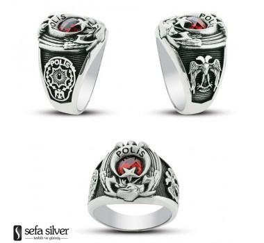 Kartal Başlı 925 Ayar Gümüş Polis Yüzüğü