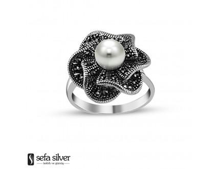 925 Ayar Gümüş İnci Taşlı Çiçek Yüzük Model 2