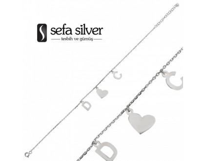 Harfli Özel Tasarım Gümüş Bileklik