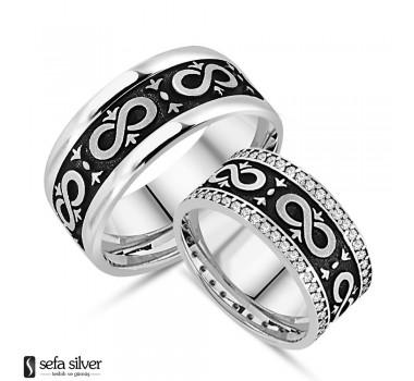 Sonsuzluk Modeli Gümüş Çift Alyanslar