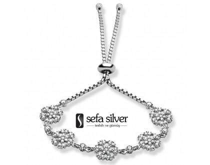 Kartaneli Asansörlü Gümüş Bileklik