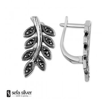 925 Ayar Gümüş Yaprak Modeli Gümüş Küpe