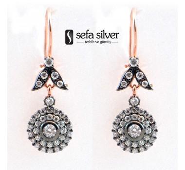 Çok Taşlı Roze Gümüş Asmalı Küpe