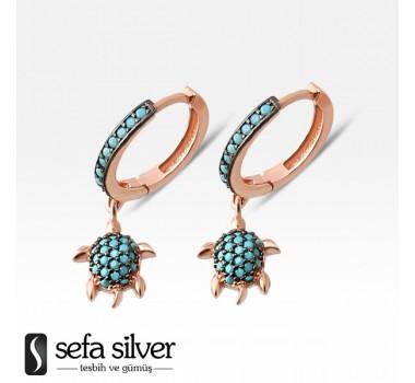 Kaplumbağa Roze Gümüş Küpe