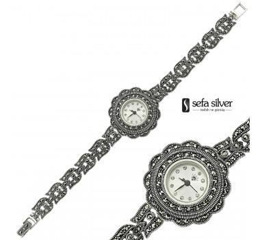 925 Ayar Gümüş Margazit Taşlı Bayan Saat