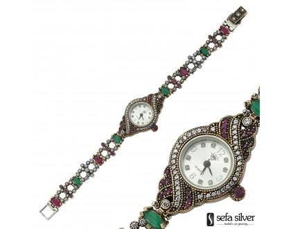 Doğal Taşlı Gümüş Saat