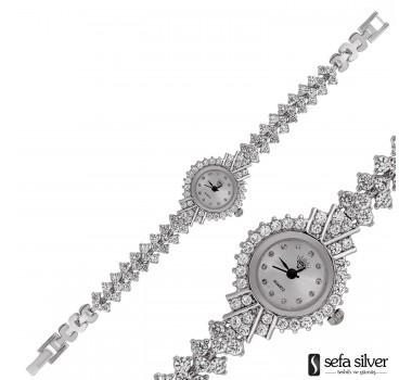 Gümüş Zirkon Taşlı Saat
