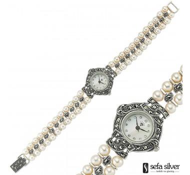İncili Margazitli Gümüş Kol Saati