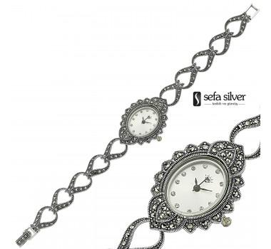 Margazit Taşlı 925 Ayar Gümüş Saat