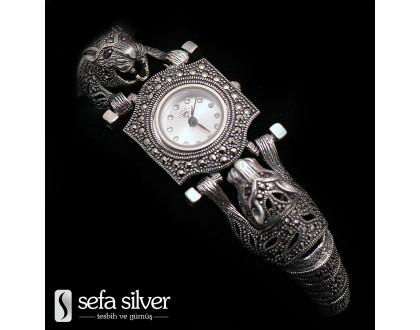 Margazit Taşlı Gümüş Saat Sefa Silver