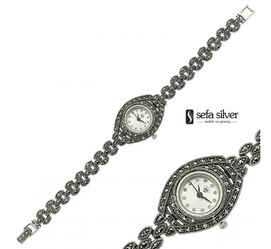 Zarif Margazit Taşlı Gümüş Saat