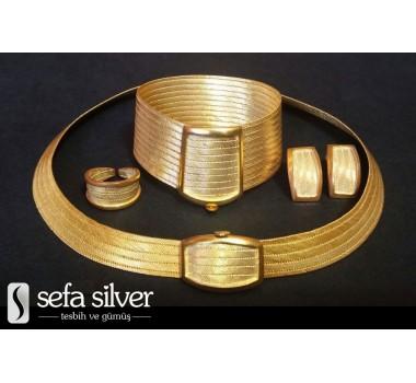 925Ayar Gümüş Altın Kaplama Trabzon Hasır Set