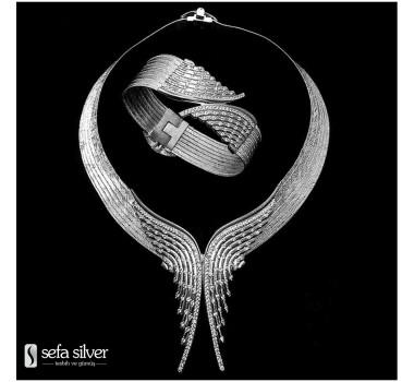Zümrüdü Anka Modeli Gümüş Hasır Takım