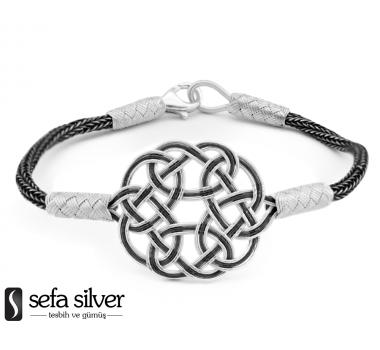 1000 Ayar Gümüş İnce Kazaz El Örmesi Bileklik