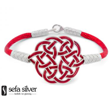 1000 Ayar Gümüş Kırmızı Beyaz Kazaz El Örmesi Bileklik