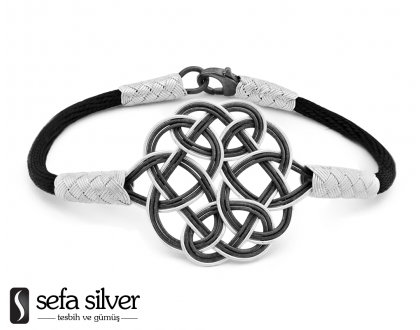1000 Ayar Gümüş Siyah Kazaz El Örmesi Bileklik