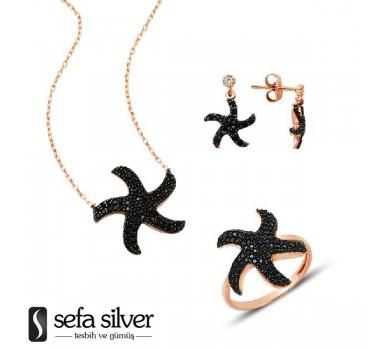 Deniz Yıldızı Rozlu Gümüş Takım