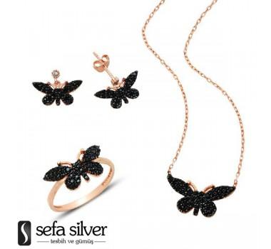 Kelebek Uçlu Gümüş Set