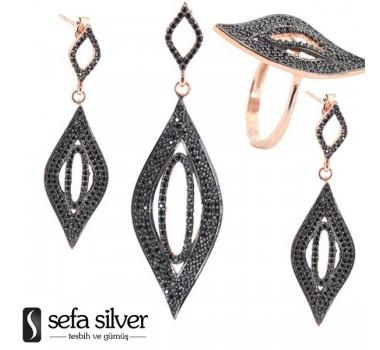 Siyah Taşlı Rozlu Gümüş Takım