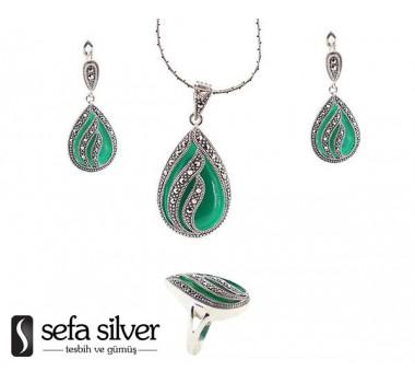 Yeşil Renk Margazit Taşlı Gümüş Takım