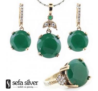 Yeşil Zümrütlü Gümüş Takım