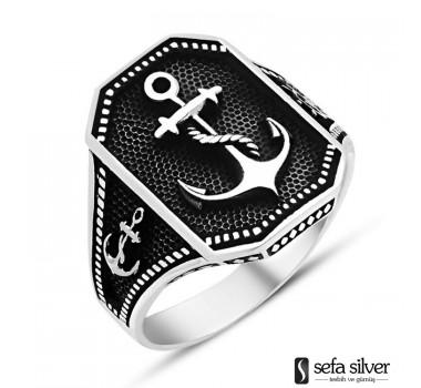 Çapa Motifli Gümüş Yüzüğü