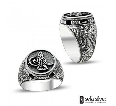 El Yapımı Osmanlı Tuğralı Gümüş Yüzük