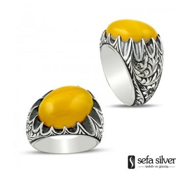 Sarı Ateş Kehribar Özel Bir Gümüş Yüzük
