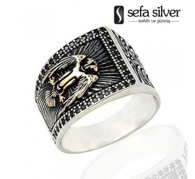Selçuklu Kartalı Zirkon Taşlı Gümüş Yüzük