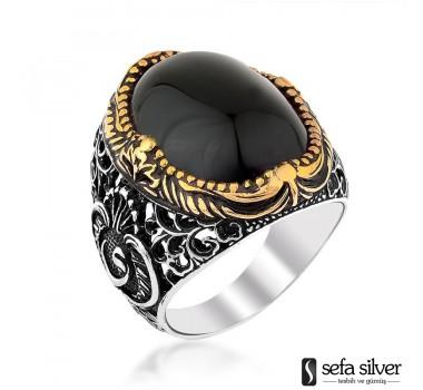 Siyah Onix Taşlı Gümüş Yüzük
