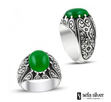Yeşil Kehribar El İşi Gümüş Yüzük