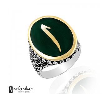 Yeşil Mineli Elifli 925 Ayar Gümüş Yüzük