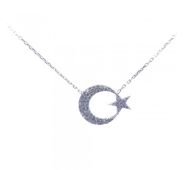 Ayyıldızlı Gümüş Kolye