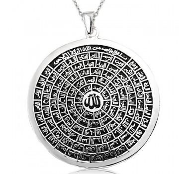 Büyük Boy Esmaül Hüsna Allah'ın 99 İsmi Gümüş Kolyesi
