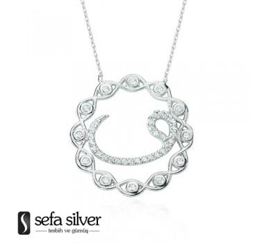 Desenli Vavlı Gümüş Kolye