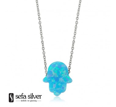 Mavi Opal Fatmanın Eli Gümüş Kolye