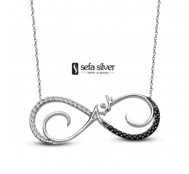 Siyah Taşlı Aşk Gümüş Kolye