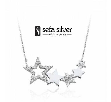Yıldızlı Gümüş Kolye